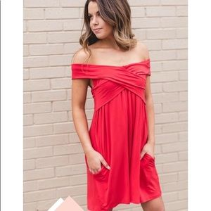 Red Wrap Me In Love Dress with Pockets